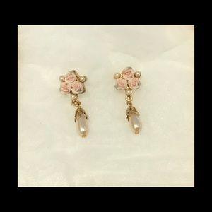Vintage 1928 Rose and Pearls Earrings